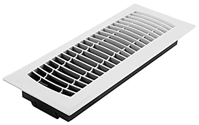"Accord Ventilation APFRWHL412 Louvered Design Plastic Floor Register, 4"" x 12"", White Finish"