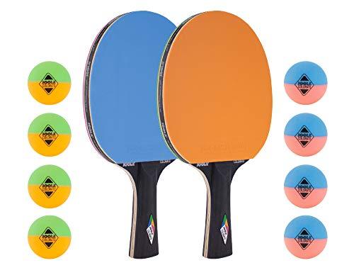 JOOLA Tischtennis-Set COLORATO Bestehend aus 2 Tischtennisschläger + 8 Bunte Tischtennisbälle, Einheitsgröße