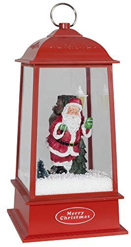 Christmas Paradise Schneiende Laterne mit Schneegestöber LED und Musik abschaltbar Höhe ca.32cm 230V Netzbetrieb Rot