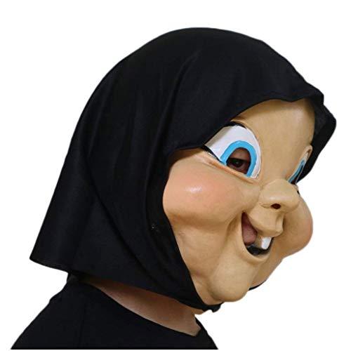 GXDHOME Latex Kopf Masken, Happy Death Day Dämon Monste Grimasse Geist Spukhaus Halloween Kostüm Horror Zombie Lustige Scary Creepy Fancy Dress