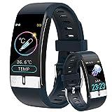 Smartwatch con Medidor de Temperatura Corporal, Reloj Inteligente Medidor de Frecuencia Cardíaca Medidor de Presión del Tiempo Contador de Calorías Podómetro para Hombre y Mujer, Azul