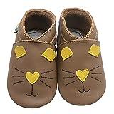 YALION Zapatillas de piel suave para aprender a andar, para niños y niñas, zapatillas de estar por casa, Gato marrón., 18/19 EU
