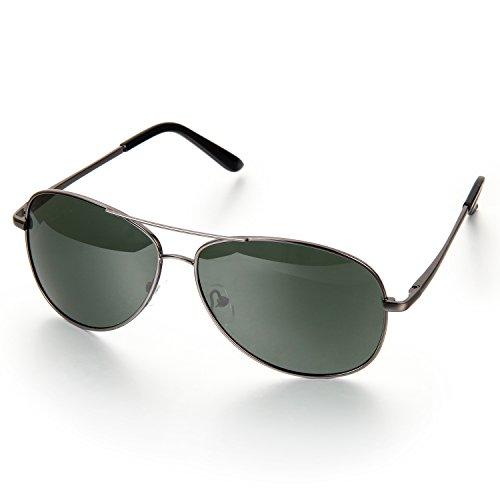 Aroncent Herren Klassiker Retro Strahlenschutz Polarisierte Sonnenbrille, Metalllegierung Vollrand Sonnenbrille, Grün