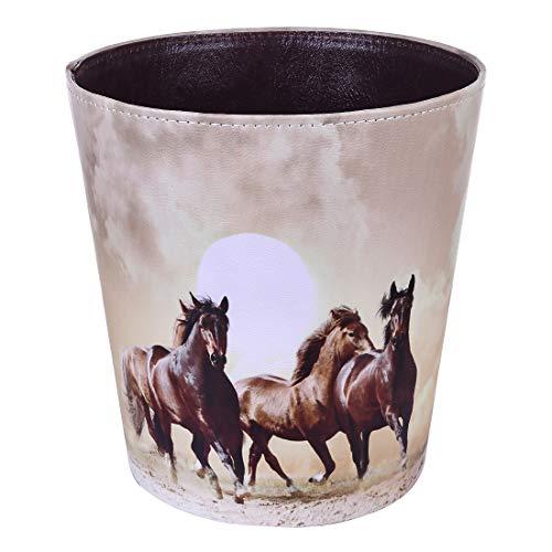 TETAKE Papierkorb Kinder mit Motiv Pferd, 10L Papierkörbe Kinderzimmer, Abfalleimer aus Leder, Wasserdicht Mülleimer ohne Deckel für Kinderzimmer Wohnzimmer Schlafzimmer Büro