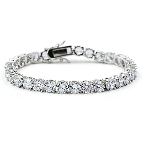 JINAO 1 Row AAA Gold Silver All Iced Out Tennis Bling Lab Simulated Diamond Bracelet (6mm Silver 7')