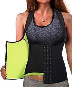 Best Neoprene Waist Trainer Corset Sweat Vest Weight Loss Body Shaper Workout Tank Tops Women  Black Sauna Suit Large