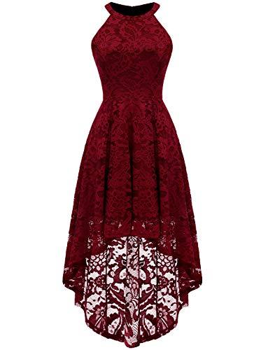 Dressystar Damen Vintage Vokuhila Spitzenkleid Halter Neckholder Abendkleider Cocktail Ballkleid Dunkelnrot L