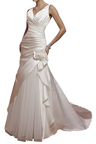 Vestido de Boda Vintage Vestidos de Novia Mujeres Largo Vestidos para la Novia A línea Tul V-Cuello Blanco EUR38