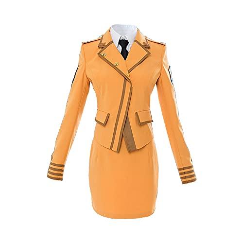 Traje de traje de traje de traje de cosplay de Teresa Testarossa de negocios de uniforme de Tuatha de Danaan susurrado trajes (X-pequeño, amarillo)