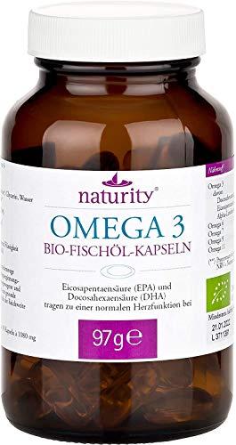BIO OMEGA 3, hochdosierte Kapseln aus Bio-Fischöl, zur Unterstützung der Herzfunktion, zertifizierte Bio-Qualität (Monatspack, 90 Kapseln)