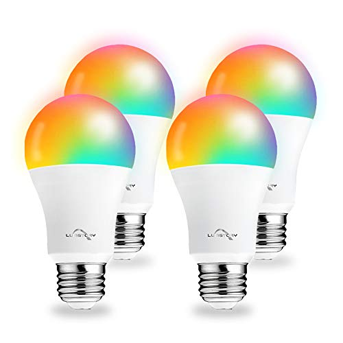 Smart Light Bulbs Work with Alexa Google Home, WiFi RGB Color Changing Light Bulb, App Remote Control, No Hub Required, 9W(60W Equivalent) A19 Dimmable Warm to Cool White Light, 4 Pack