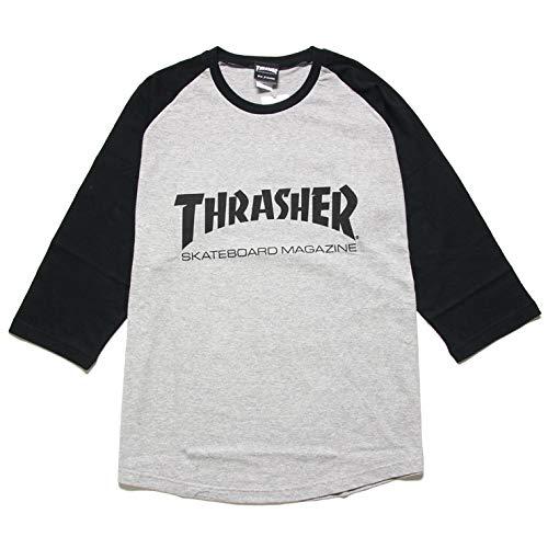 [スラッシャー] MAG LOGO RAGLAN 7分袖 TEE TH8201 メンズ レディース 秋冬 Tシャツ 7分袖 L グレー×ブラック