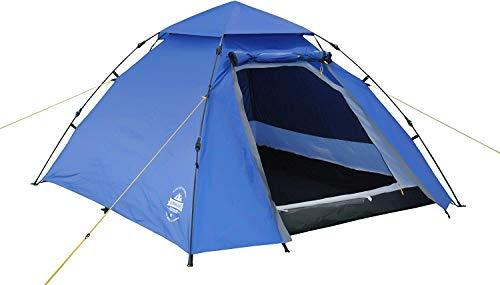 ZXL Pop-up-Zelt für 3 Personen 215 x 195 x 120 cm Leichte wasserdichte Klebebandnähte Quick Up System Festival Wanderreisen Trekking eingenähte Bodenplatte tragbare Tragetasche,Blau