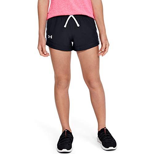 Under Armour Girls' Sprint Shorts , Black (001)/White , Youth Large
