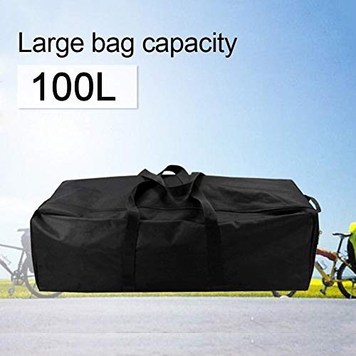 Destinely Bolsa Grande de Viaje/Deporte (Tela de PVC Oxford), 100L Bolsa de Viaje Plegable Bolsas Grande Duffel Bag para Avión Cabina Impermeable - Negro