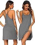 Ekouaer Women Nightgowns Spaghetti Strap Solid Nighties Sleeveless Sleepwear Dress Grey X-Large