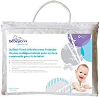 Quilted and Fitted Bamboo Crib Mattress Protector | Crib Size – 52 inches by 28 inches | 9 Inch Extra Long Bed Skirt...