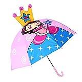 Goods4good Paraguas Infantil Niña 2-6 años Dibujo Princesa color Rosa Largo Automático Anti Viento 55cm