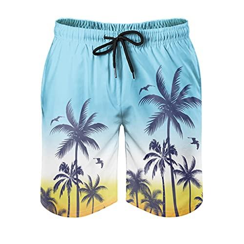 kikomia Bañador para hombre Hawaii Coco, árboles, puesta de sol, estampado Fantasy Surf Shorts con bolsillos forro de malla, color blanco M