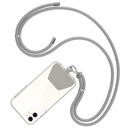 COCASES Crossbody Phone Lanyard Strap with Patch, Adjustable Nylon Neck Strap Necklace Phone Lasso Compatible with iPhone, Galaxy, Huawei and Most Smartphones (Grey)