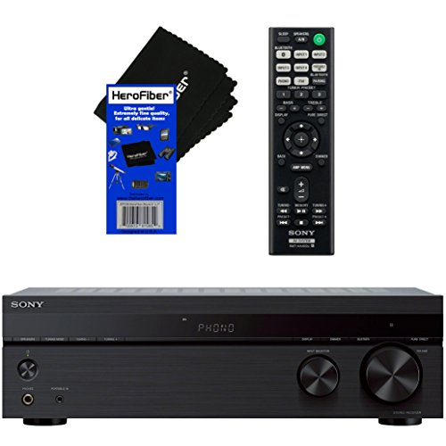 Sony Bluetooth Connectivity 2 Channel Stereo Receiver with Turntable Input, 4 Audio Inputs, A/B Speaker Function & FM Tuner + Remote Control + HeroFiber Ultra Gentle Cleaning Cloth
