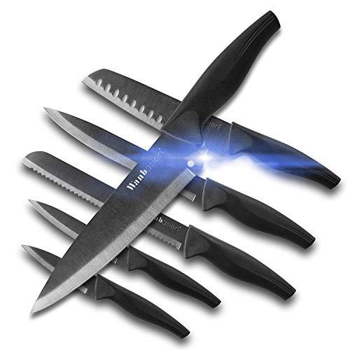 Wanbasion 6 Pezzi Set di coltelli da Cucina Professionali Chef, Set di coltelli Acciaio Inox Nero, Set di coltelli da Cucina Cuoco