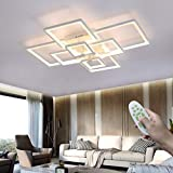 LED Regulable Lámpara de techo Moderno Lámpara de salón Blanco, con mando a distancia 120W Rectangula Metal Plafón Ultradelgado Creativo, por Dormitorio Oficina Cocina Iluminación L106cm