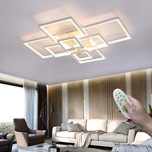 Moderne Wohnzimmer Deckenleuchten, LED Dimmbar Rechteckig Deckenlampe Weiß 120W, mit Fernbedienung 8-flammig Kreative Metall Decken Licht, Für Schlafzimmer Lampe Büro Leuchte Flur Beleuchtung L106cm