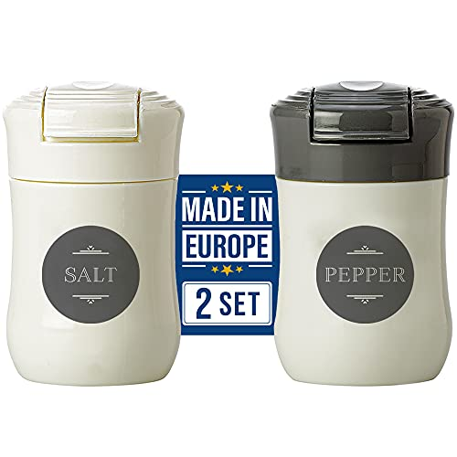 Crystalia Travel Salt and Pepper Shakers, Moisture Proof Set of 2, BPA Free Plastic Mini Salt Shakers with Lid, Outdoor Kitchen Camping Travel Spice Seasoning Set