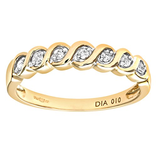 Naava Women's 9 ct Yellow Gold Diamond Eternity Ring, Size N