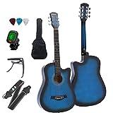 Mocoluzアコースティックギター 初心者セット 人気 ギター 楽器 練習 38インチ クラシックギター 初級 入門レベル おしゃれ チューナー カポタスト ストラップ ギターピック ソフトケース アコギ