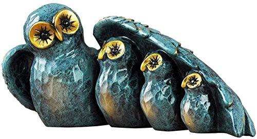 LULUDP-décoration résine Bleue Sculpture créative Hibou Famille de Quatre Statue à la Main en Argent Maison Salon Armoire à vin Chambre Bureau décor Chambre Armoire Art Artisanat Ornements-Bleu