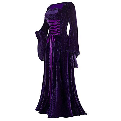 Routinfly Vestido de mujer, vestido de camisa, bodycon, vestido informal para fiestas, de verano, vestido largo para mujer, vintage, de manga larga, hasta el suelo, elegante vestido de elfo