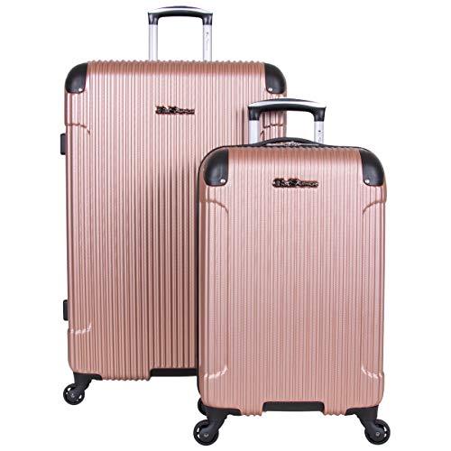 Ben Sherman Charlton Bay Collection Lightweight Hardside 4-Wheel Spinner Travel Luggage, Rose Gold, 2-Piece Set (20