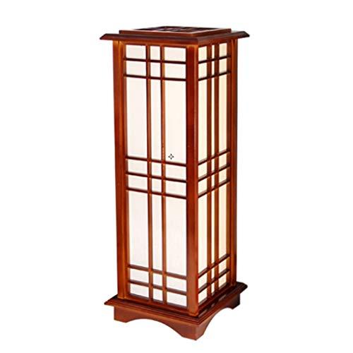 Lampadaire japonais en bois massif, lampe de salle à manger salon chambre à coucher, lampe de table de chevet, E27, lampe de sol à LED (Color : A-Warm light-60cm)