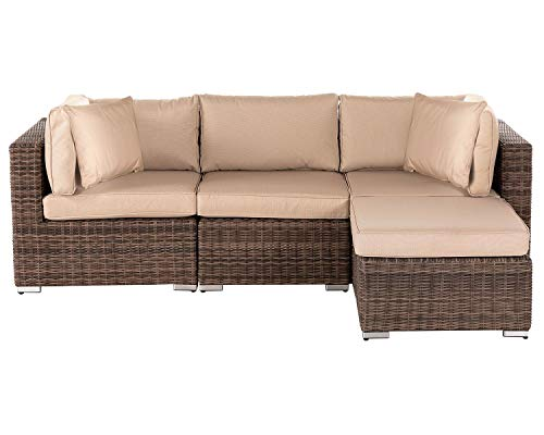 StellaHome 4 Pieces Patio Furniture Set, Aluminum Outdoor Small Sectional Brown Patio Sofa Set, Wicker Rattan Couch Conversation Set w/Ottoman, Glass Table-No Assembly Free Pillows and Clips