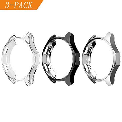 Cerike Hülle für Samsung Gear S3 Watch 46mm[3-Stück], Soft TPU vernickelt [Kratzfest] All-Around Schutzhülle für Samsung Frontier SM-R760 /Galaxy Watch 46mm SM-R800(46mm, Schwarz/Silber/Transparent)
