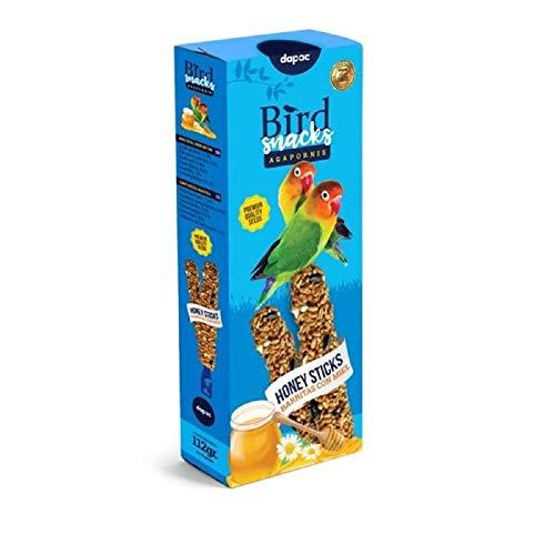 DAPAC Alimento para Pájaros en Barritas de Miel para Agapornis 112g
