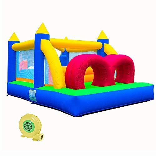 Castillo Hinchable Infantil de Cohete con Canasta Inflable de Trampolín y Bolsa Portátil para Interiores y Exteriores, para Niños en Interiores y Exteriores (Paño de Oxford)