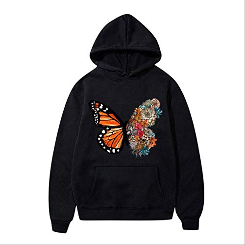 ZCMWY Fall Hoodie Sweatshirts Women'S Butterfly Fun Pattern Printed Long-Sleeve Hooded Sweatshirt Oversize Pullovers Warm M Black