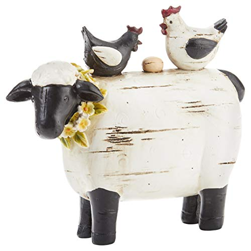 Delton Products 4296-0 Summer Sheep with Chicken 7 x 6 Resin Stone Collectible Figurine  Black and White