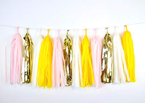 4-Pack You are My Sunshine Yellow Pink Gold Tassel Garland Banner Pink Lemonade Party Streamers Backdrop for Sunflower First Birthday Girl Baby Shower Wedding Photo Props Balloon Tails Tassel Decor