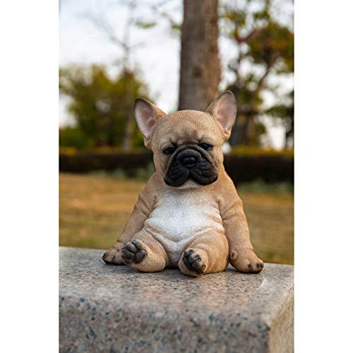 Unknown1 Sitting Sleepy French Bulldog Puppy Statue Brown Polyresin