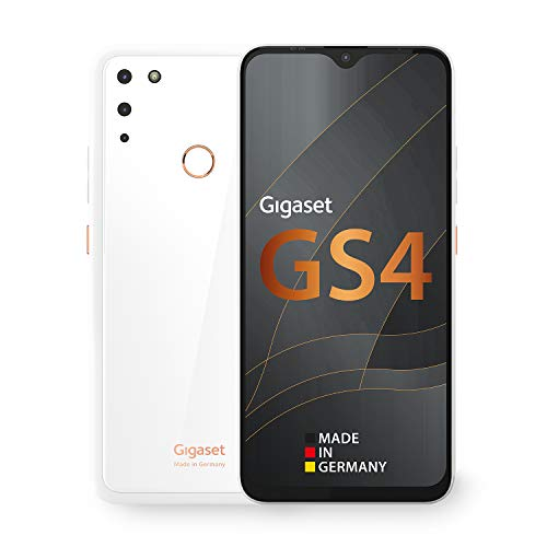 Gigaset GS4 Smartphone - Made in Germany - leistungsstarker 4300mAh Akku mit Schnellladefunktion - 6,3 Zoll Full HD+ V-Notch Display - NFC - 4GB RAM+64GB interner Speicher - Android 10 - Pure White