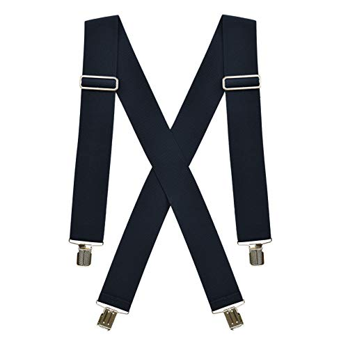Hold'Em Suspenders for men Heavy Duty for Big and Tall-Navy-1X