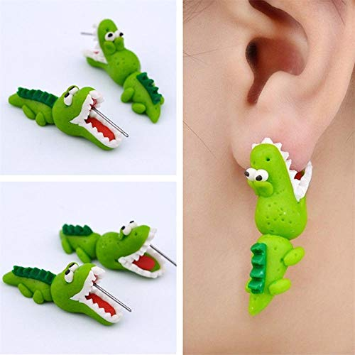 Pendientes Suaves y Bonitos de Dinosaurio, 1 par de Arcilla polimérica Hecha a Mano para Mujer, joyería de Moda Animal Piercing para Oreja(Verde)