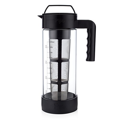XL Best Glass Cold Brew Coffee Maker & Iced Tea Pitcher Kit, Makes 1.3 Liters of Concentrate - Airtight Seal - System includes Jar/Carafe/Pot, Reusable Large Stainless Steel Micro Filter & Bumper