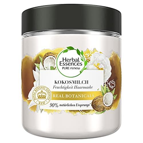 Herbal Essences PURE:renew Kokosmilch Feuchtigkeit Haarmaske Coconut Milk, 250 ml, Kokos, Haarpflege Glanz, Haarpflege Trockenes Haar, Aloe Vera, Haarkur, Haare Kur, Haarkur Trockene Haare, Haar Mask
