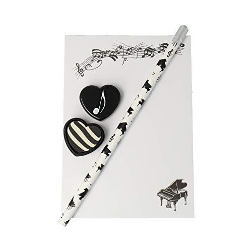 Notizblock mit Bleistift und Radiergummi Flügel - Schönes Geschenk für Musiker