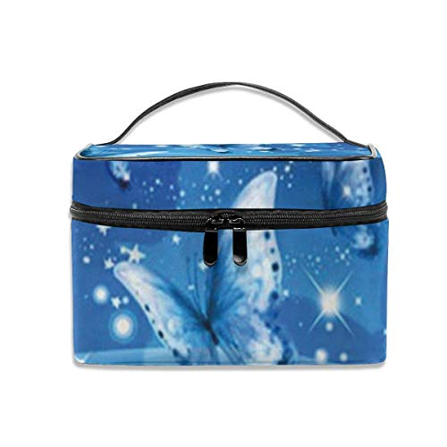 Blue Butterflies Design Travel Cosmetic Organizer Portable Artist Storage Bag, Multifunction Toiletry Bags